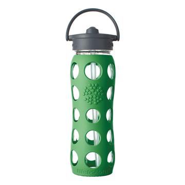 美國唯樂Lifefactory繽紛彩色玻璃水瓶650ml-吸管_草綠LF234041