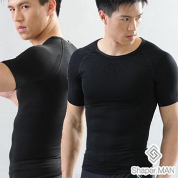 【Shaper MAN】肌力機能衣 男性塑身衣-短袖/黑