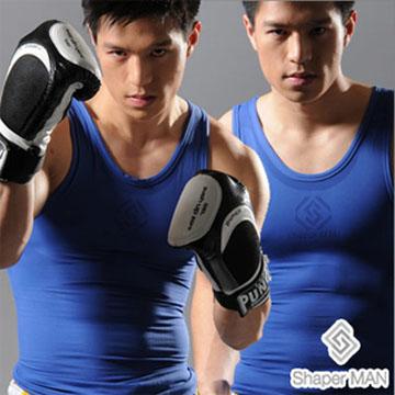【Shaper MAN】肌力機能衣 男性塑身衣-背心/藍