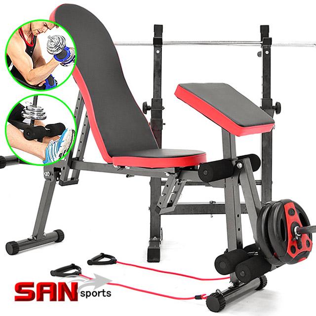 【SAN SPORTS】複合式飛鳥重訓椅(含彈力繩)