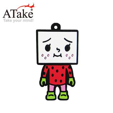 《時尚潮流★質感設計》ATake 豆腐人4G隨身碟-草莓