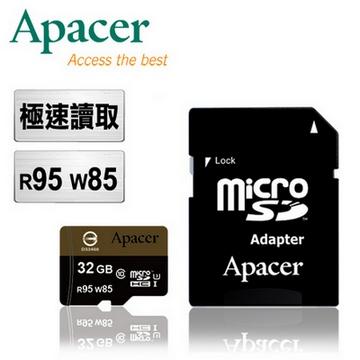 Apacer宇瞻 32GB MicroSDHC UHS-I U3 R95M/W85M高速記憶卡