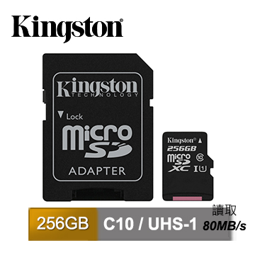 金士頓 Kingston Canvas Select MicroSDXC/UHS-I C10 256GB 記憶卡 (SDCS/256GB)