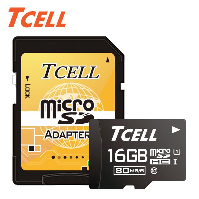 超值10入▼單件175TCELL冠元 MicroSDHC UHS-I 16GB 80MB/s高速記憶卡 Class10 (10入組)★升速80MB/s