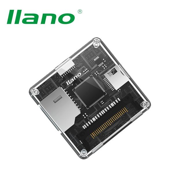 llano 綠巨能 USB3.0 四卡同時用 高速讀卡機(透明)多功能合一