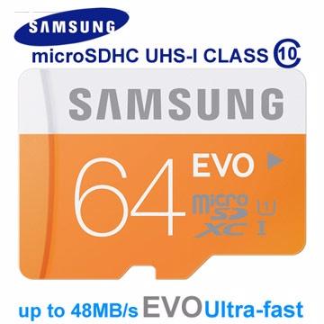 讀取速度高達48MB/s★加贈MP3耳機SAMSUNG 64GB EVO Ultra microSDXC U1 48MB/s(附轉卡)-平輸