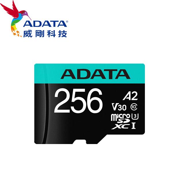 威剛 Premier Pro microSDXC UHS-I U3 A2 V30 256G記憶卡(附轉卡)