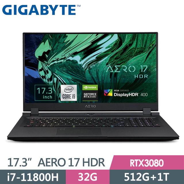 GIGABYTE AERO 17 HDR YD(i7-11800HK/32G/512G+1T/RTX3080 8G/17.3 UHD/Win10P)電競筆電