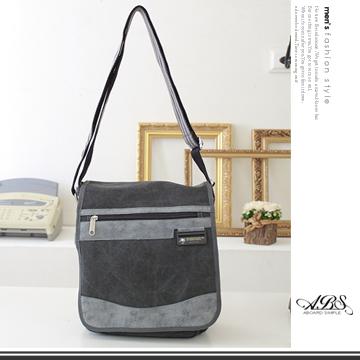 ABS愛貝斯 潮流時尚水洗帆布直式側背包(06-015) 黑灰