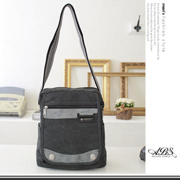 ABS愛貝斯 潮流時尚水洗帆布直式側背包 (06-004) 黑灰