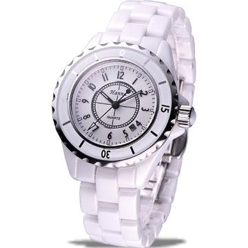 HANNA 法式情人全陶瓷石英腕錶(白-小尺寸)