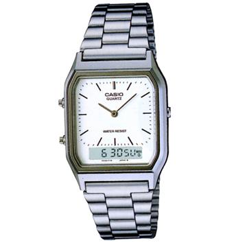 【CASIO】金色時尚熟男指針錶-刻度白面