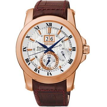 SEIKO 精工 SNP096J1@7D56-0AB0P Premier系列 人動電能萬年曆腕錶 玫瑰金 42mm