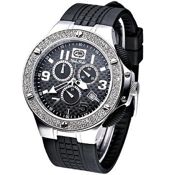 MARC ECKO 極速魅力3眼計時晶鑽腕錶