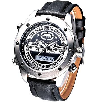 MARC ECKO 拳擊勇將雙顯時尚腕錶(黑)
