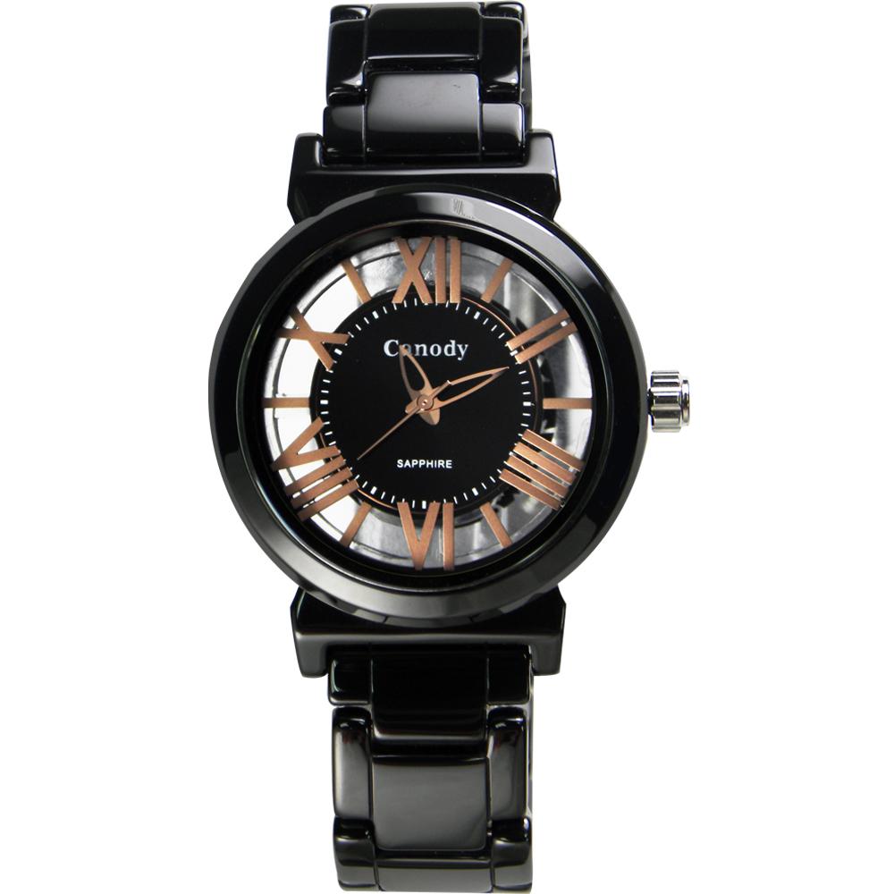 Canody 都會儷人 雙鏤空時尚陶瓷腕錶(CB1220-3A)-黑+玫瑰金/ 35mm