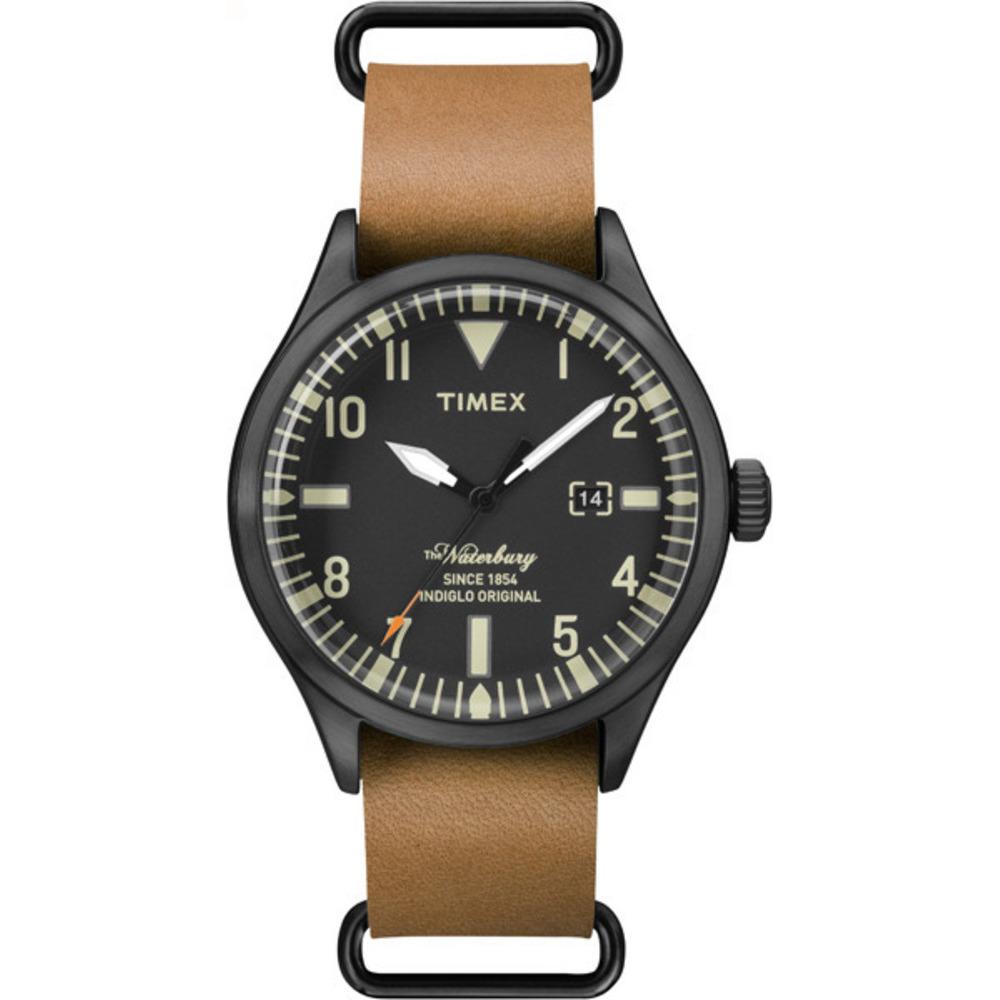 【TIMEX 】天美時經典潮流腕錶Waterbury系列 (黑面/ 咖啡帶 TXT2P64700)