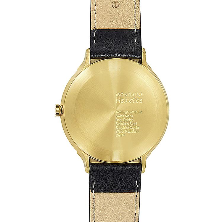 MONDAINE 瑞士國鐵Helvetica聯名腕錶-白x金框/38mm
