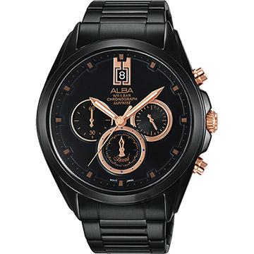 ALBA 台灣限定情人節限量計時腕錶-黑/43mm VD53-X264K(AT3B11X1)