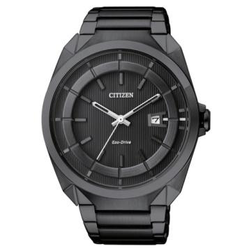 CITIZEN Eco-Drive 經典型男簡約風格腕錶/ 黑面黑鋼/ 43mm/ AW1015-53E