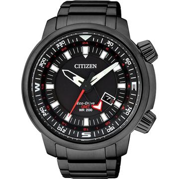 CITIZEN Eco-Drive 雙時區日期顯示光動能腕錶-BJ7086-57E