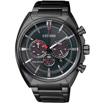 CITIZEN 星辰 Eco-Drive 光動能 三眼計時腕錶(黑/45mm) CA4285-50H