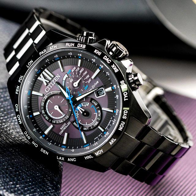 CITIZEN Eco-Drive 宇宙探索電波光動能腕錶/ 黑(CB5835-83F)