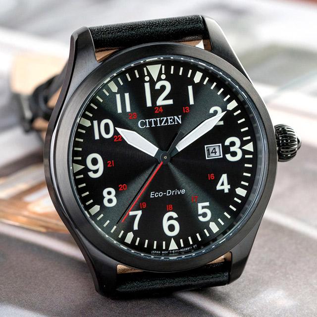 CITIZEN 星辰 Eco-Drive 永恆品味光動能真皮錶帶/ 黑 (BM6835-23E)