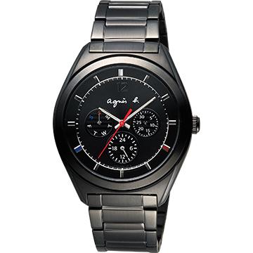 agnes b. Solar 太陽能法式時尚日期手錶-IP黑/40mm V14J-0CG0K(BT5011P1)