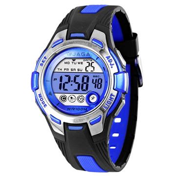 JAGA捷卡M998多功能防水100米運動電子錶-黑藍