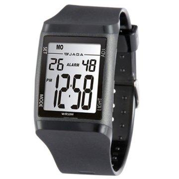 JAGA捷卡M866多功能防水運動電子錶-黑