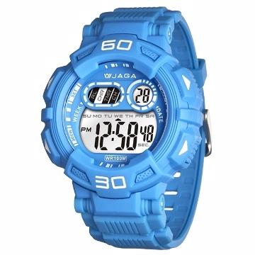 JAGA捷卡M1001A-EE多功能防水運動電子錶-淺藍