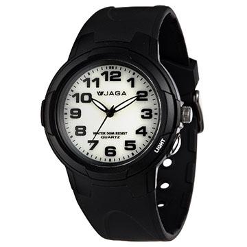 JAGA 捷卡 AQ71A-A色彩繽紛夜光防水指針錶-黑