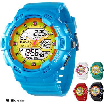 JAGA Blink系列 AD935-EK 雙顯多功能防水運動電子錶 -藍黃