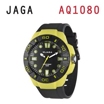 JAGA AQ1080-F 亮彩冷光防水指針錶-綠