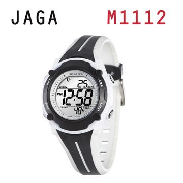 JAGA 捷卡 M1112-DA 俏麗時髦 多功能電子錶-白黑