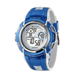 JAGA M688-DE 時尚休閒運動多功能電子錶-白藍