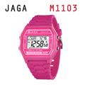 JAGA 捷卡 M1103-G 亮彩冷光 防水指針錶-粉色