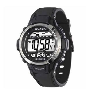 JAGA M1048A-A 捷卡運動休閒風多功能電子錶-黑色