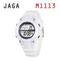 JAGA 捷卡 M1113-D 動感亮眼時尚 多功能電子錶-白色