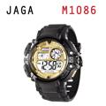 JAGA 捷卡 M1086-AL 時尚休閒運動 多功能電子錶-黑金