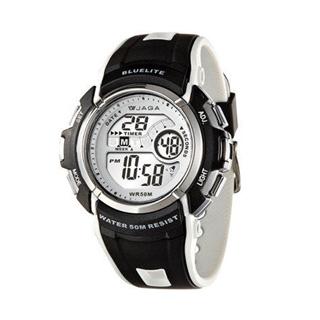 JAGA M688-AD 時尚休閒運動多功能電子錶-黑白