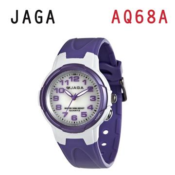 JAGA AQ68-DJ 色彩繽紛夜光防水指針錶-白紫