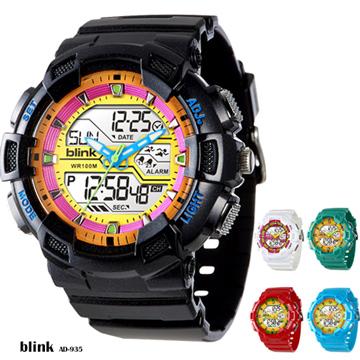 JAGA Blink系列 AD935-AK 雙顯多功能防水運動電子錶 -黑黃