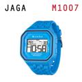 JAGA 捷卡 M1007-E 方形時尚休閒錶 多功能電子錶-藍