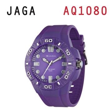 JAGA AQ1080-J 亮彩冷光防水指針錶-紫
