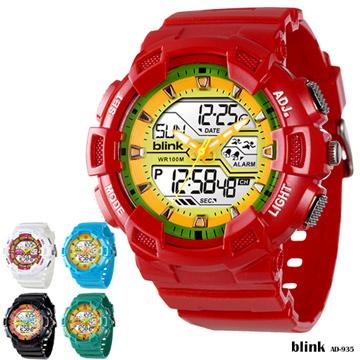 JAGA Blink系列 AD935-GK 雙顯多功能防水運動電子錶 -紅黃