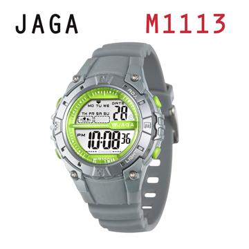 JAGA 捷卡 M1113-C 動感亮眼時尚 多功能電子錶-灰色