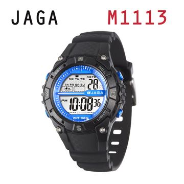 JAGA 捷卡 M1113-A 動感亮眼時尚 多功能電子錶-黑色