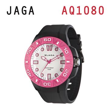 JAGA AQ1080-AG 亮彩冷光防水指針錶-黑粉
